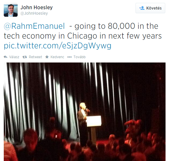 John Hoesley on Twitter   RahmEmanuel   going to 80 000 in the tech economy in Chicago in next few years http   t.co eSjzDgWywg