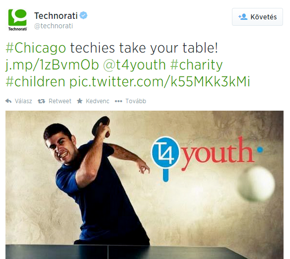 Technorati on Twitter   Chicago techies take your table  http   t.co P0hrmCglvq  t4youth  charity  children http   t.co k55MKk3kMi