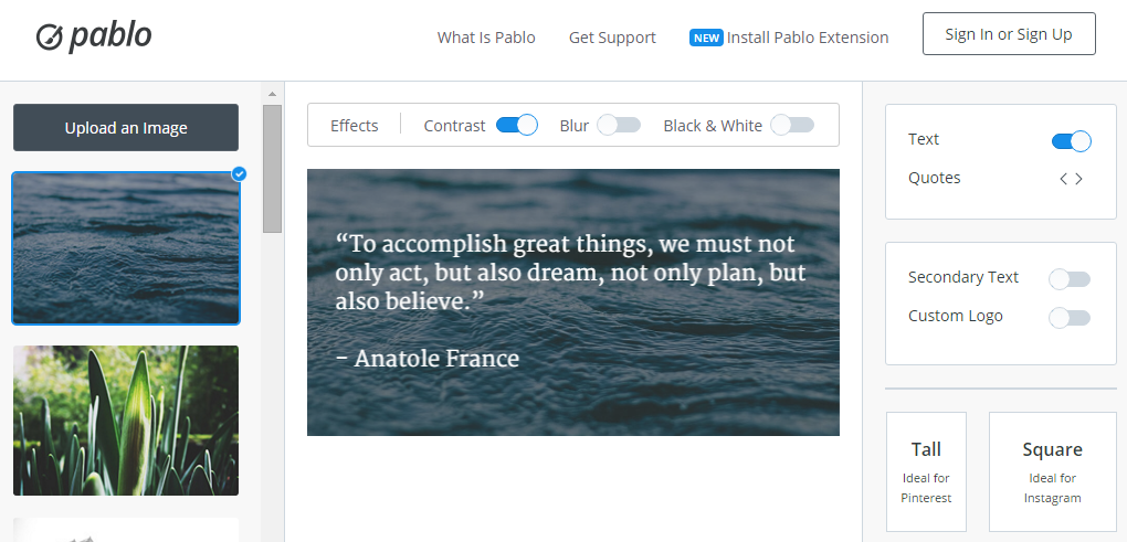 Pablo by Buffer Design engaging images for your social media posts in under 30 seconds
